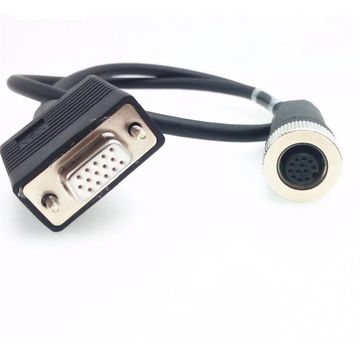 Custom HDB15 to M12 12pin waterproof female sockets shielded cable assembly for laser machine